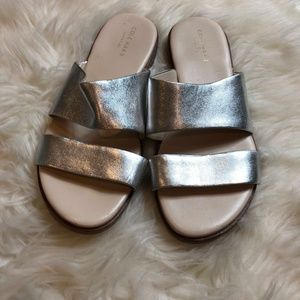 Cole Haan Grand Os Silver Leather Sandals